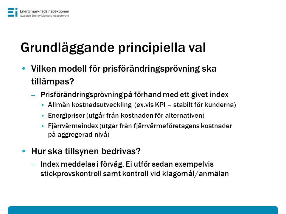 Grundläggande principiella val Vilken modell för prisförändringsprövning ska tillämpas? – Prisförändringsprövning på förhand med ett givet index Allmä