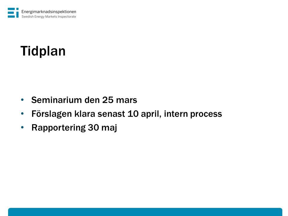 Tidplan Seminarium den 25 mars Förslagen klara senast 10 april, intern process Rapportering 30 maj