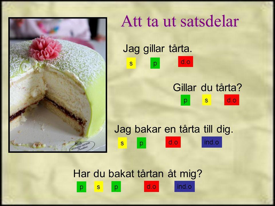sp Jag gillar tårta. Jag bakar en tårta till dig. Gillar du tårta? Har du bakat tårtan åt mig? s s s p p p d.o ind.o p Att ta ut satsdelar