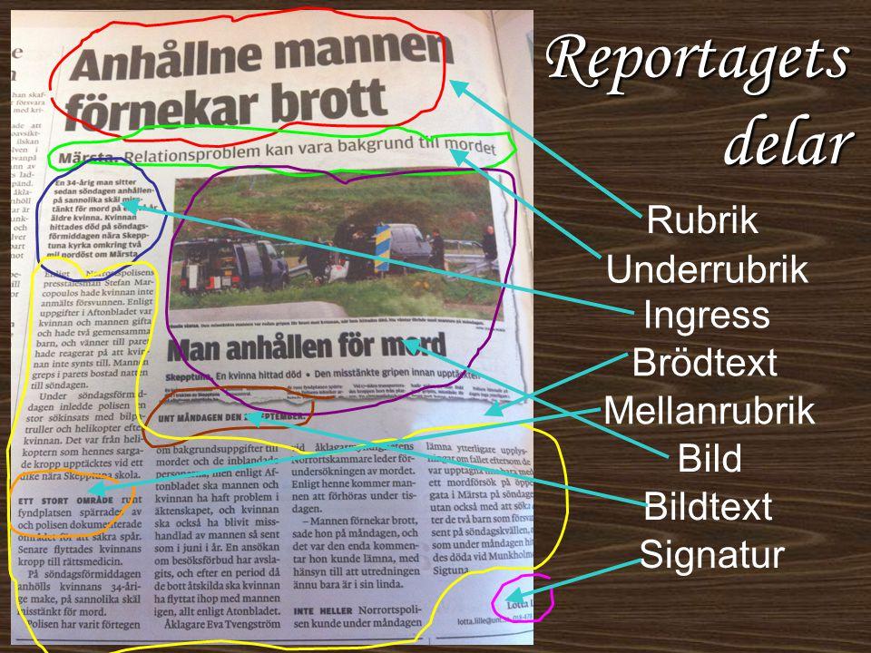 Reportagets delar Rubrik Underrubrik Ingress Brödtext Mellanrubrik Bild Bildtext Signatur
