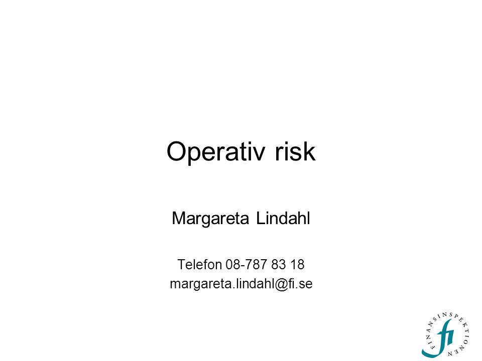 Operativ risk Margareta Lindahl Telefon 08-787 83 18 margareta.lindahl@fi.se