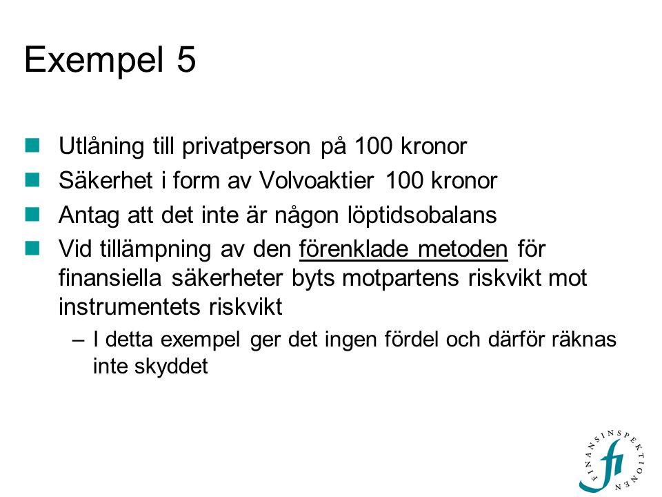 Exempel 5 Utlåning till privatperson på 100 kronor Säkerhet i form av Volvoaktier 100 kronor Antag att det inte är någon löptidsobalans Vid tillämpnin