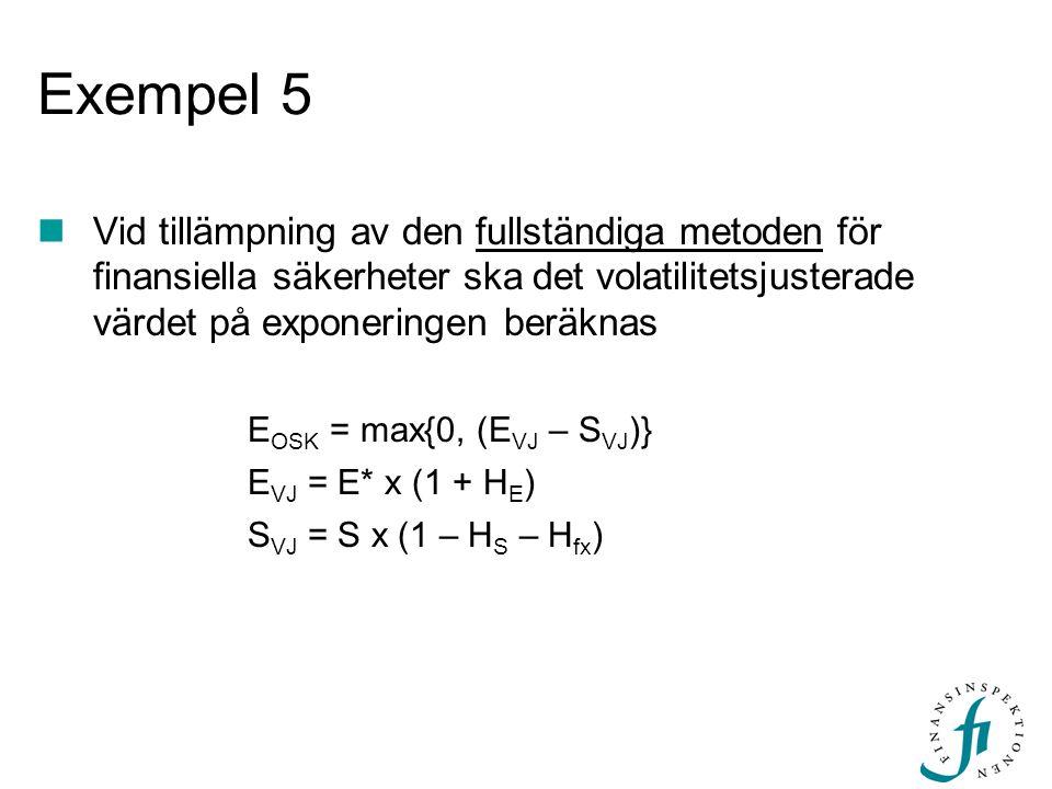 Exempel 5 Vid tillämpning av den fullständiga metoden för finansiella säkerheter ska det volatilitetsjusterade värdet på exponeringen beräknas E OSK =