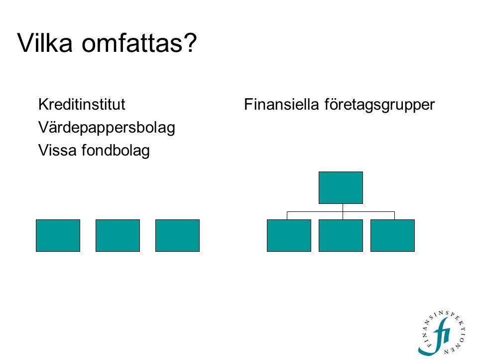 Vilka omfattas? Kreditinstitut Värdepappersbolag Vissa fondbolag Finansiella företagsgrupper