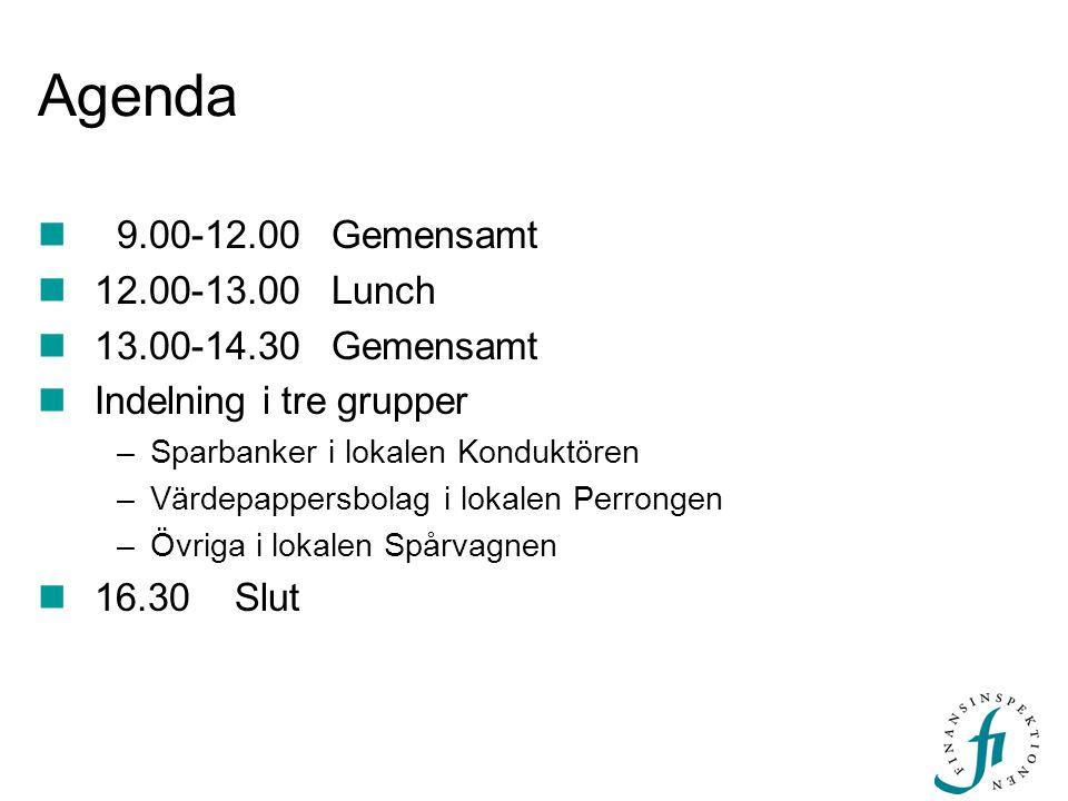 Agenda 9.00-12.00Gemensamt 12.00-13.00 Lunch 13.00-14.30Gemensamt Indelning i tre grupper –Sparbanker i lokalen Konduktören –Värdepappersbolag i lokal