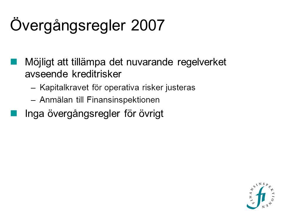 Övergångsregler 2007 Möjligt att tillämpa det nuvarande regelverket avseende kreditrisker –Kapitalkravet för operativa risker justeras –Anmälan till F