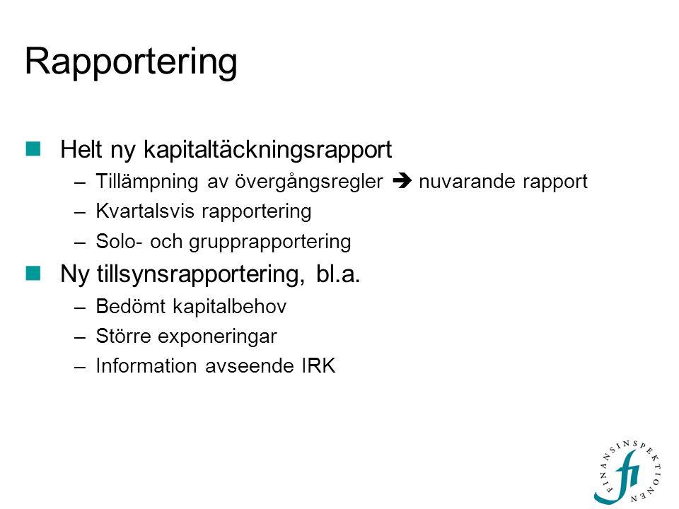 Rapportering Helt ny kapitaltäckningsrapport –Tillämpning av övergångsregler  nuvarande rapport –Kvartalsvis rapportering –Solo- och grupprapporterin