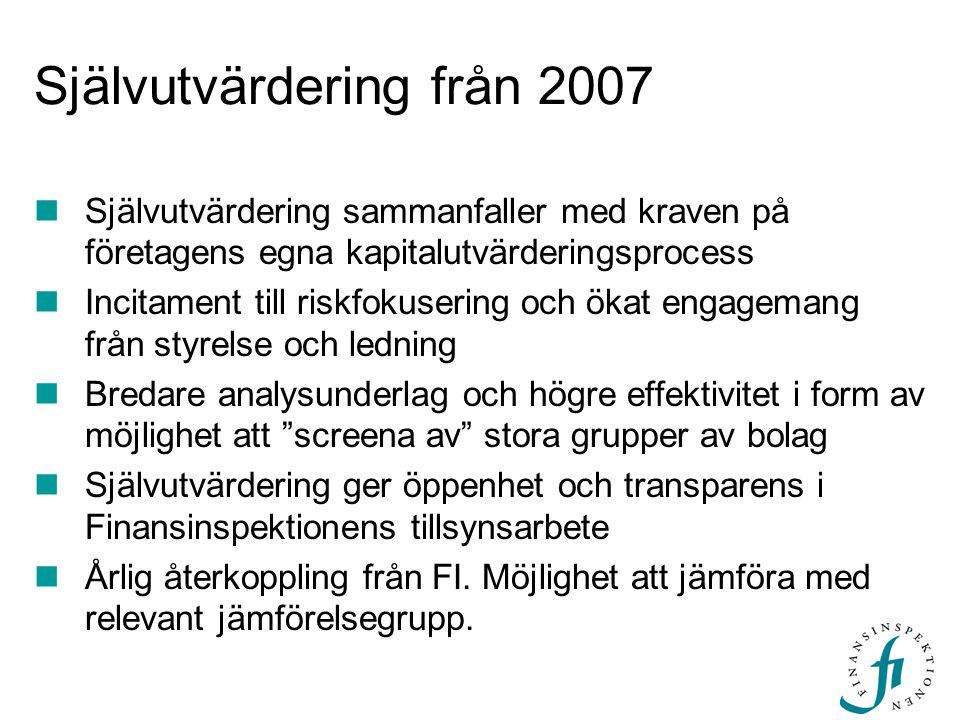 Självutvärdering från 2007 Självutvärdering sammanfaller med kraven på företagens egna kapitalutvärderingsprocess Incitament till riskfokusering och ö