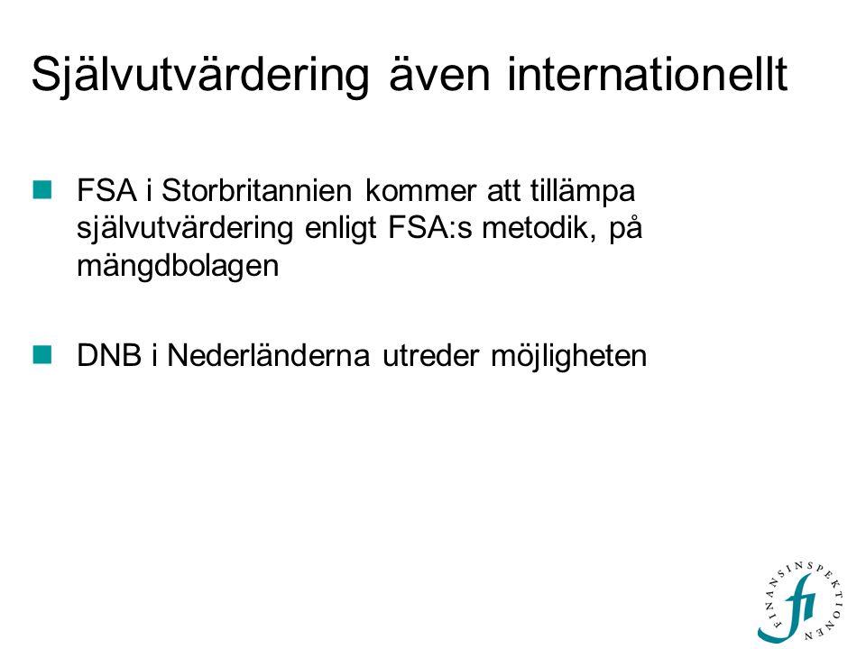 Självutvärdering även internationellt FSA i Storbritannien kommer att tillämpa självutvärdering enligt FSA:s metodik, på mängdbolagen DNB i Nederlände