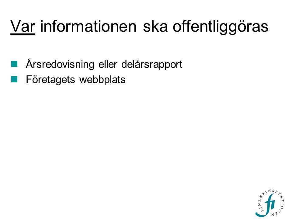Var informationen ska offentliggöras Årsredovisning eller delårsrapport Företagets webbplats