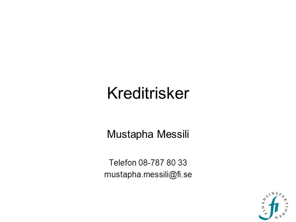 Kreditrisker Mustapha Messili Telefon 08-787 80 33 mustapha.messili@fi.se