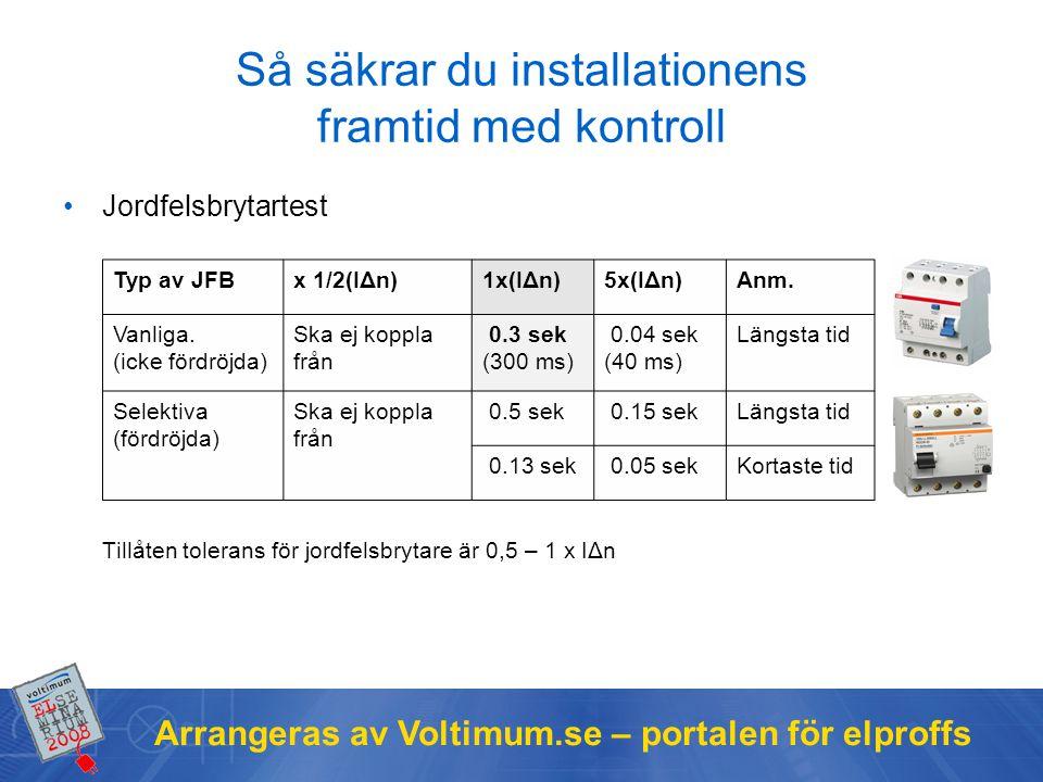 Arrangeras av Voltimum.se – portalen för elproffs Så säkrar du installationens framtid med kontroll Jordfelsbrytartest Tillåten tolerans för jordfelsbrytare är 0,5 – 1 x IΔn Typ av JFBx 1/2(IΔn)1x(IΔn)5x(IΔn)Anm.