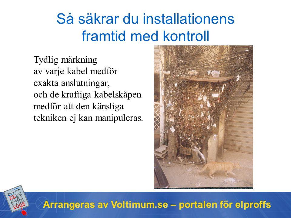 Arrangeras av Voltimum.se – portalen för elproffs Så säkrar du installationens framtid med kontroll Tydlig märkning av varje kabel medför exakta anslutningar, och de kraftiga kabelskåpen medför att den känsliga tekniken ej kan manipuleras.