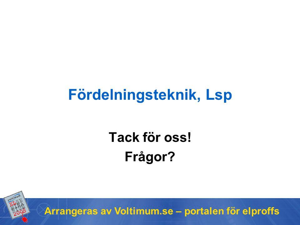 Arrangeras av Voltimum.se – portalen för elproffs Fördelningsteknik, Lsp Tack för oss! Frågor?