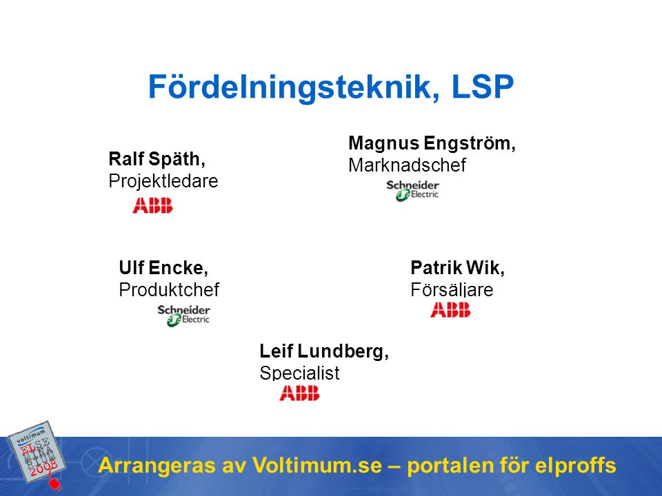 Arrangeras av Voltimum.se – portalen för elproffs Fördelningsteknik, LSP Ralf Späth, Projektledare Magnus Engström, Marknadschef Patrik Wik, Försäljar