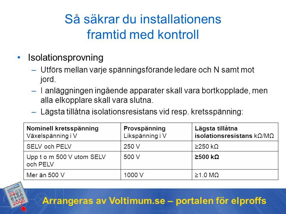 Arrangeras av Voltimum.se – portalen för elproffs Så säkrar du installationens framtid med kontroll Isolationsprovning –Utförs mellan varje spänningsförande ledare och N samt mot jord.