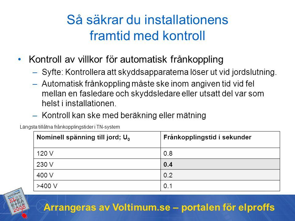 Arrangeras av Voltimum.se – portalen för elproffs Så säkrar du installationens framtid med kontroll Kontroll av villkor för automatisk frånkoppling –S