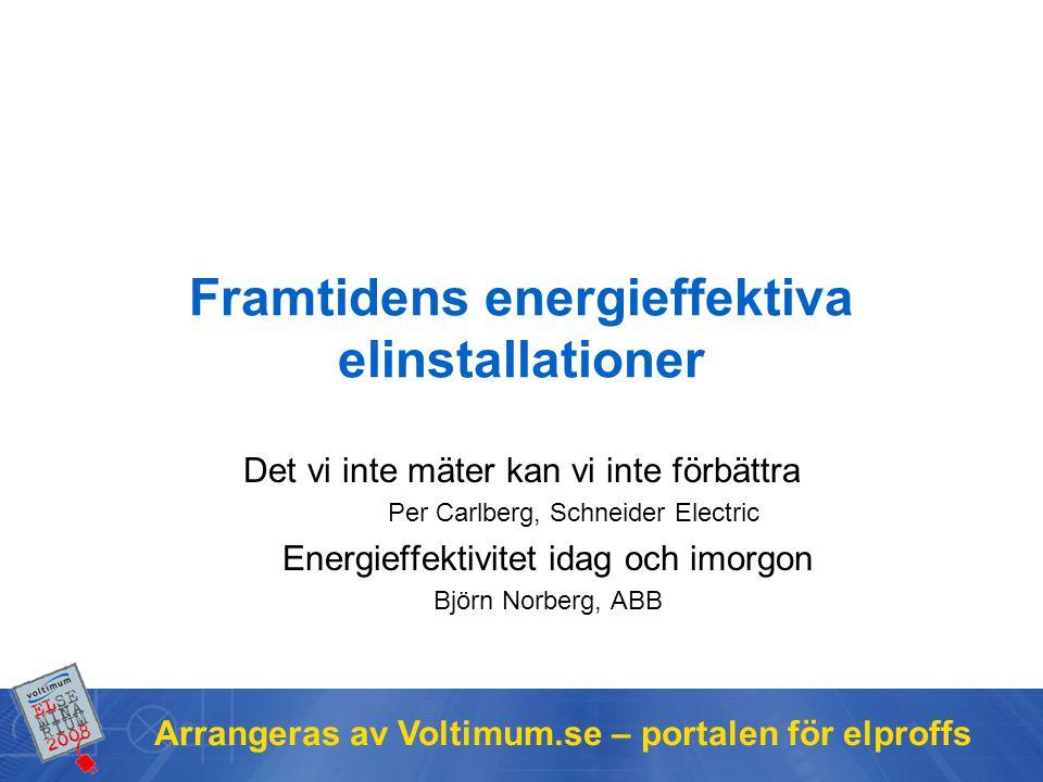 Arrangeras av Voltimum.se – portalen för elproffs Framtidens energieffektiva elinstallationer Det vi inte mäter kan vi inte förbättra Per Carlberg, Schneider Electric Energieffektivitet idag och imorgon Björn Norberg, ABB