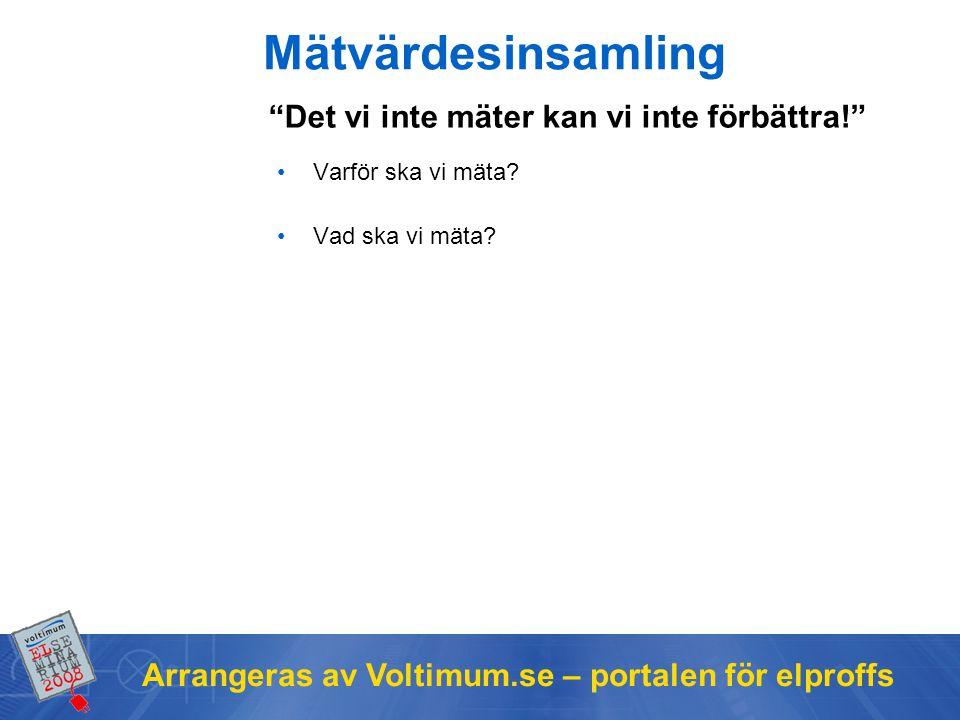 Arrangeras av Voltimum.se – portalen för elproffs Mätvärdesinsamling Varför ska vi mäta.