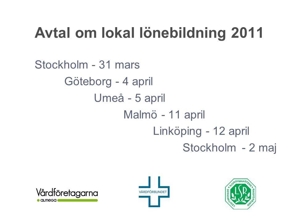 Avtal om lokal lönebildning 2011 Stockholm - 31 mars Göteborg - 4 april Umeå - 5 april Malmö - 11 april Linköping - 12 april Stockholm- 2 maj