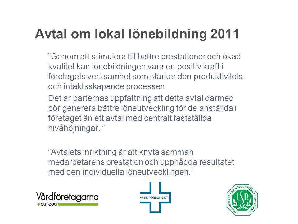 """Avtal om lokal lönebildning 2011 """"Genom att stimulera till bättre prestationer och ökad kvalitet kan lönebildningen vara en positiv kraft i företagets"""