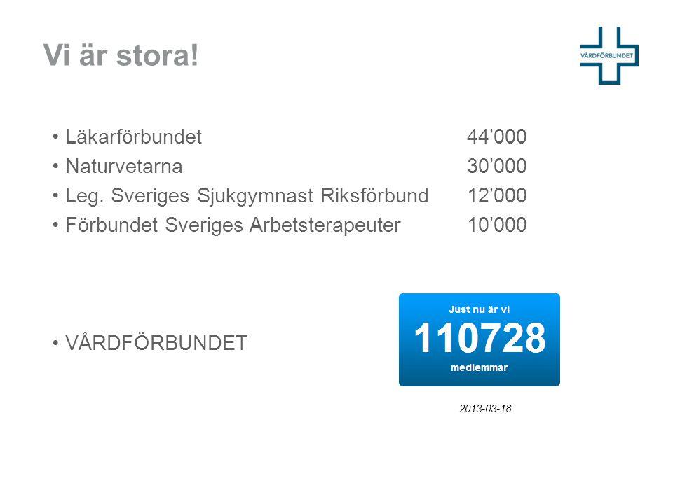 Vi är stora! Läkarförbundet 44'000 Naturvetarna 30'000 Leg. Sveriges Sjukgymnast Riksförbund 12'000 Förbundet Sveriges Arbetsterapeuter 10'000 VÅRDFÖR