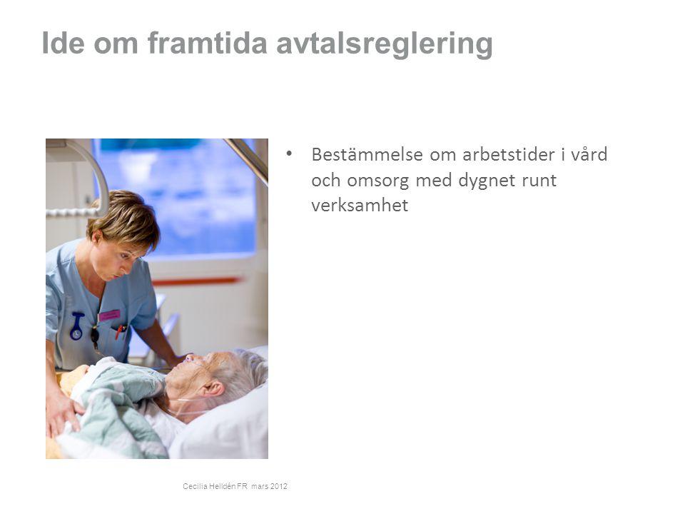Ide om framtida avtalsreglering Bestämmelse om arbetstider i vård och omsorg med dygnet runt verksamhet Cecilia Helldén FR mars 2012
