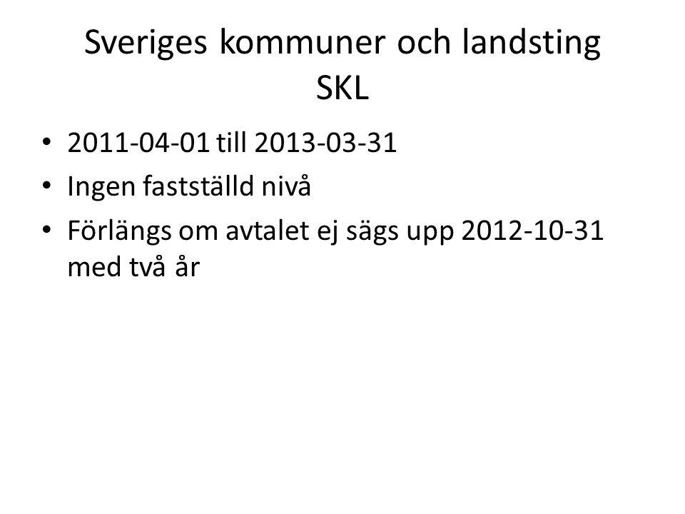 Sveriges kommuner och landsting SKL 2011-04-01 till 2013-03-31 Ingen fastställd nivå Förlängs om avtalet ej sägs upp 2012-10-31 med två år