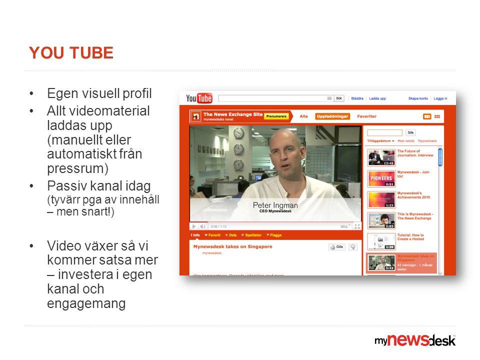 YOU TUBE Egen visuell profil Allt videomaterial laddas upp (manuellt eller automatiskt från pressrum) Passiv kanal idag (tyvärr pga av innehåll – men snart!) Video växer så vi kommer satsa mer – investera i egen kanal och engagemang
