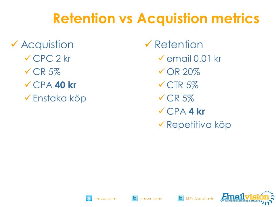 slide 11 marcus.nymanmarcusnyman EMV_Scandinavia Retention vs Acquistion metrics Acquistion CPC 2 kr CR 5% CPA 40 kr Enstaka köp Retention email 0.01