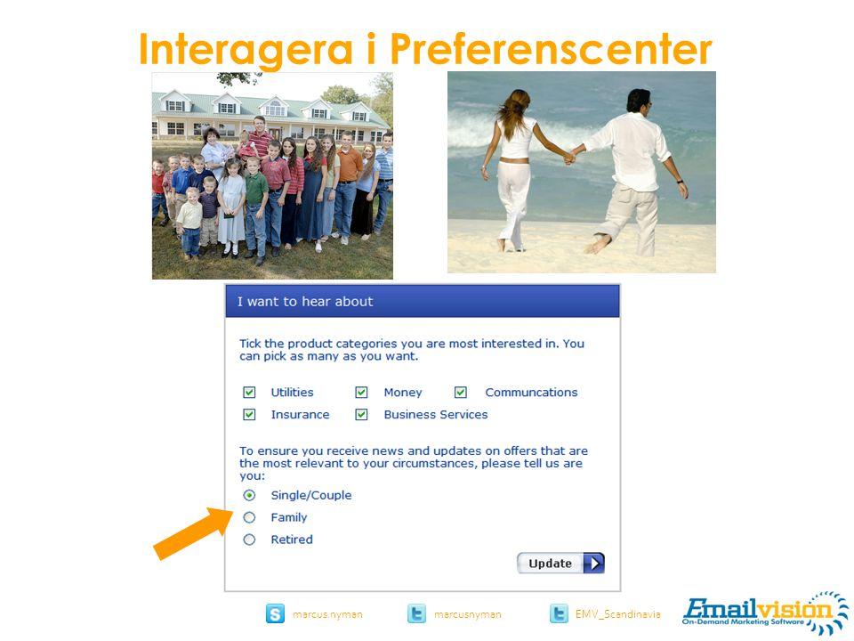 slide 21 marcus.nymanmarcusnyman EMV_Scandinavia uswitch.com Interagera i Preferenscenter