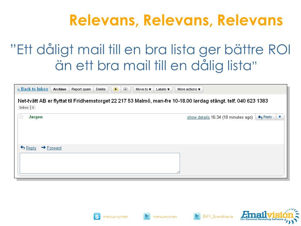 slide 29 marcus.nymanmarcusnyman EMV_Scandinavia Relevans, Relevans, Relevans Ett dåligt mail till en bra lista ger bättre ROI än ett bra mail till en dålig lista