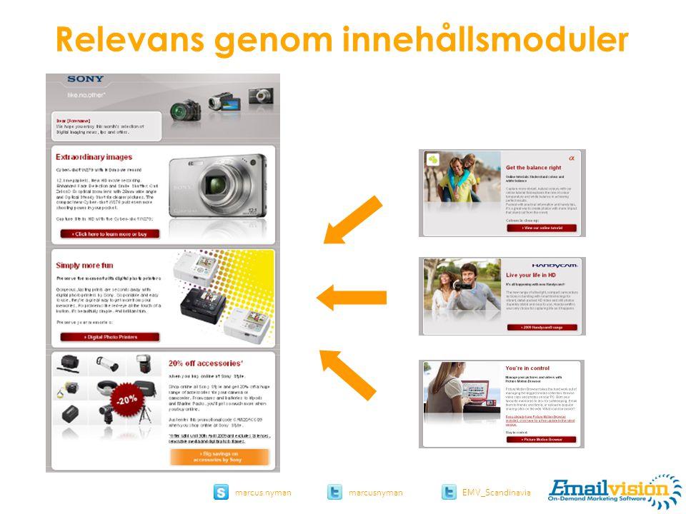slide 41 marcus.nymanmarcusnyman EMV_Scandinavia sony.com Relevans genom innehållsmoduler