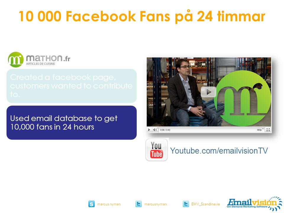 slide 52 marcus.nymanmarcusnyman EMV_Scandinavia Created a facebook page, customers wanted to contribute to. Used email database to get 10,000 fans in
