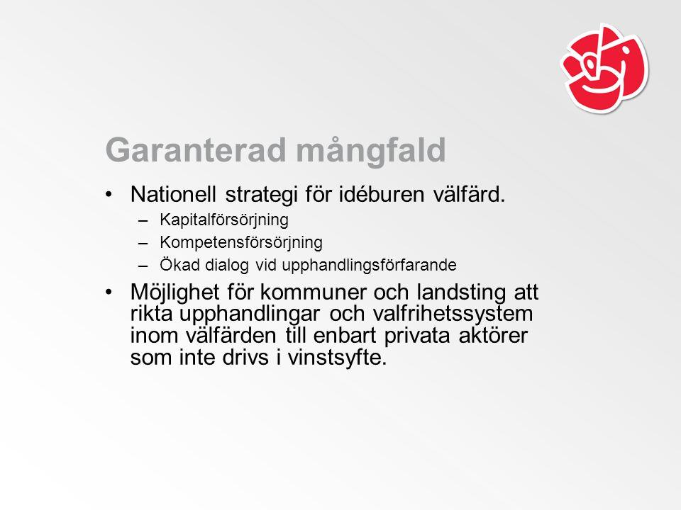Garanterad mångfald Nationell strategi för idéburen välfärd.