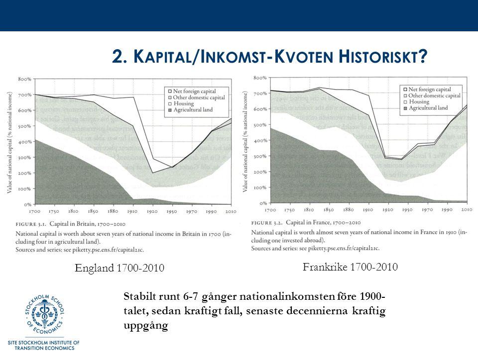 S AMMANTAGET Enorm förändring i kunskapsläget främst vad gäller inkomstfördelningens och i viss mån förmögenhetsfördelningens utveckling över lång tid.