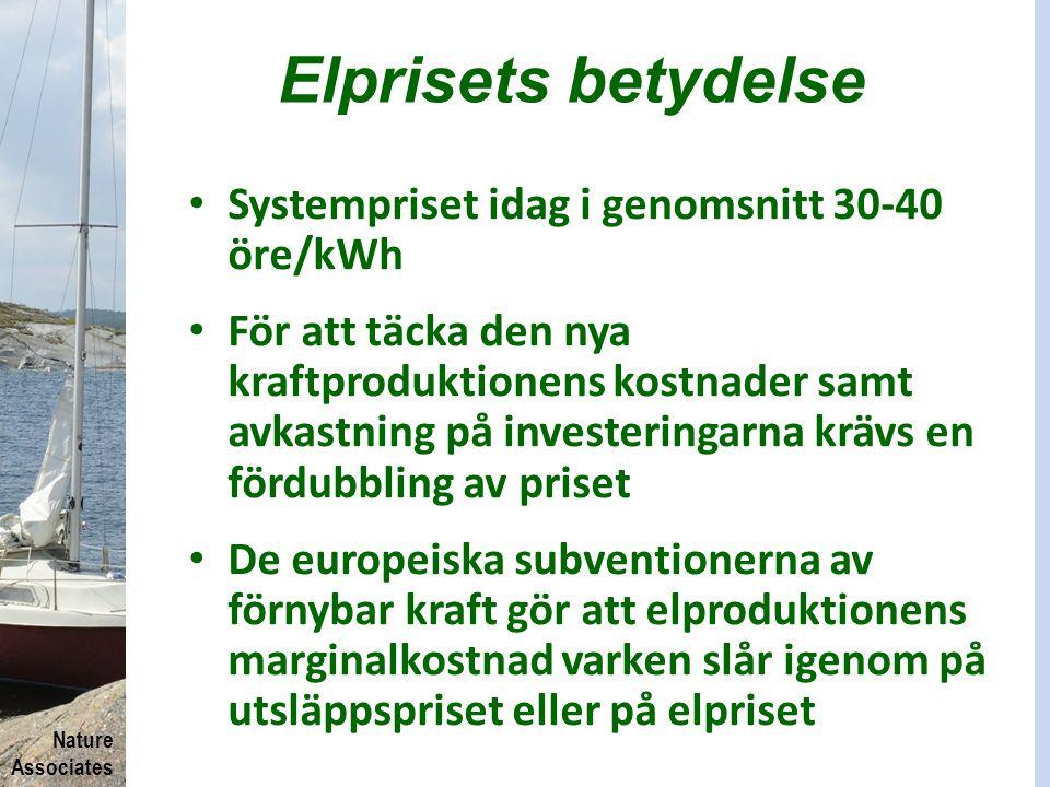 Nature Associates Elprisets betydelse Systempriset idag i genomsnitt 30-40 öre/kWh För att täcka den nya kraftproduktionens kostnader samt avkastning