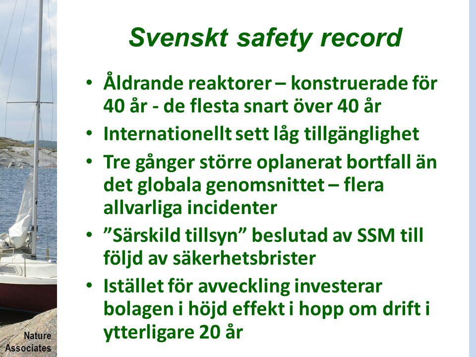 Nature Associates Svenskt safety record Åldrande reaktorer – konstruerade för 40 år - de flesta snart över 40 år Internationellt sett låg tillgängligh