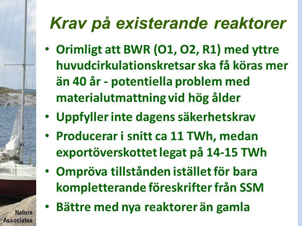 Nature Associates Krav på existerande reaktorer Orimligt att BWR (O1, O2, R1) med yttre huvudcirkulationskretsar ska få köras mer än 40 år - potentiel