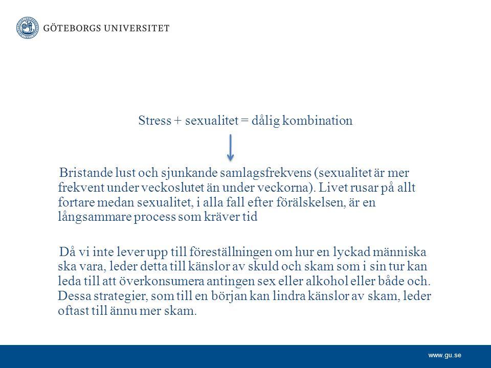 www.gu.se Stress + sexualitet = dålig kombination Bristande lust och sjunkande samlagsfrekvens (sexualitet är mer frekvent under veckoslutet än under veckorna).