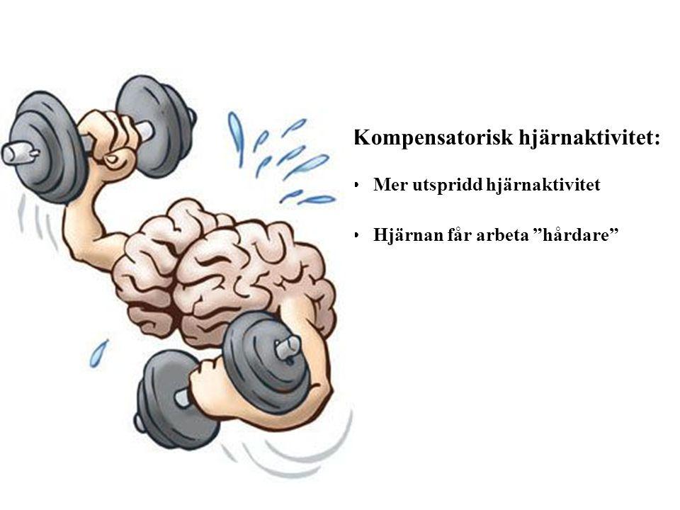 """Kompensatorisk hjärnaktivitet: Mer utspridd hjärnaktivitet Hjärnan får arbeta """"hårdare"""""""
