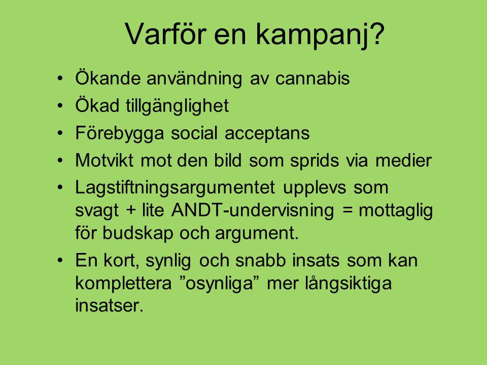 Ökande användning av cannabis Ökad tillgänglighet Förebygga social acceptans Motvikt mot den bild som sprids via medier Lagstiftningsargumentet upplevs som svagt + lite ANDT-undervisning = mottaglig för budskap och argument.