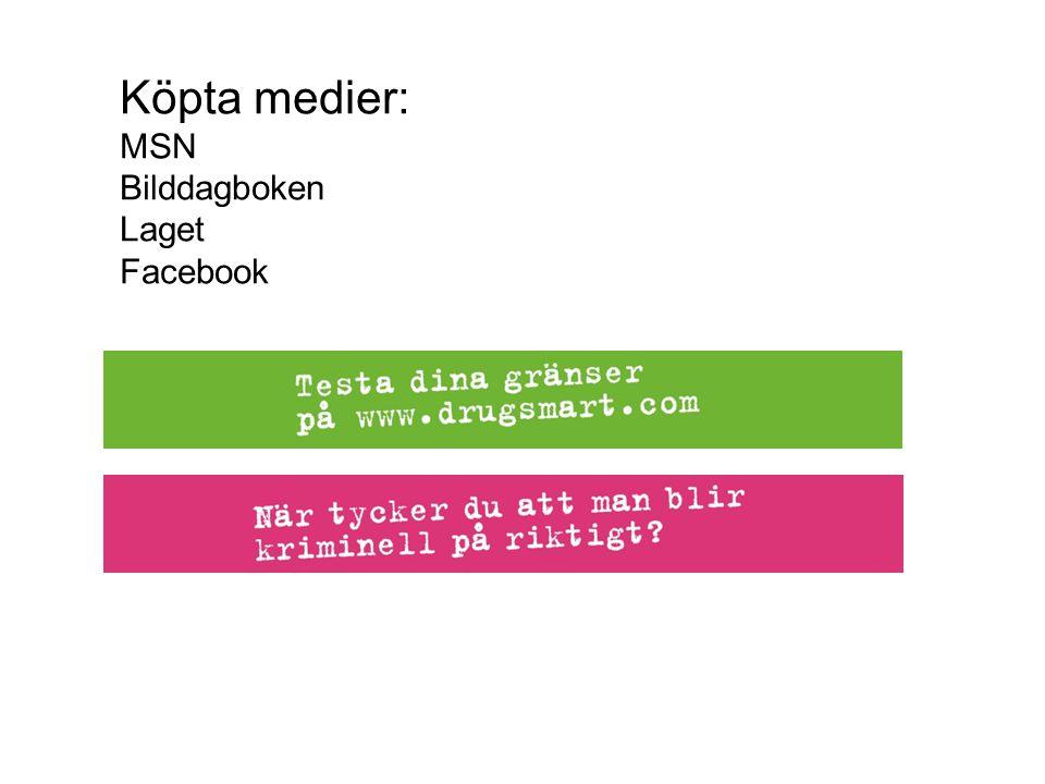 Köpta medier: MSN Bilddagboken Laget Facebook