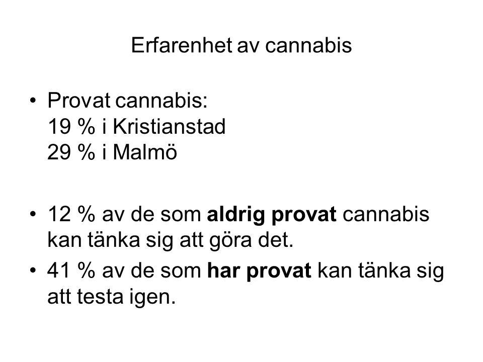 Erfarenhet av cannabis Provat cannabis: 19 % i Kristianstad 29 % i Malmö 12 % av de som aldrig provat cannabis kan tänka sig att göra det.