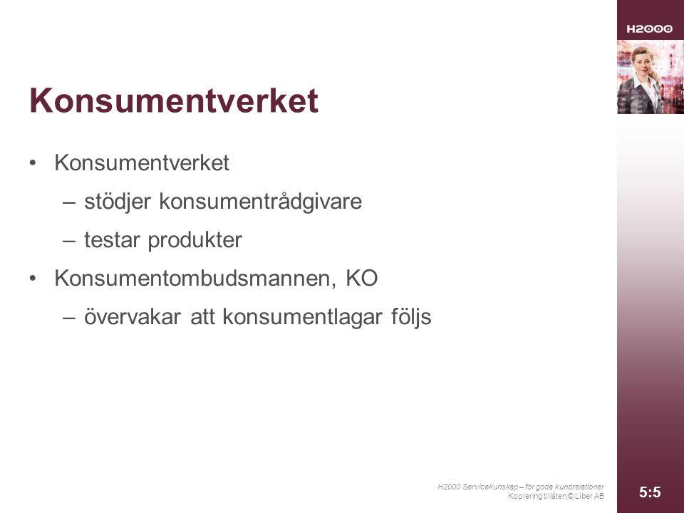 H2000 Servicekunskap – för goda kundrelationer Kopiering tillåten © Liber AB 5:5 Konsumentverket –stödjer konsumentrådgivare –testar produkter Konsume