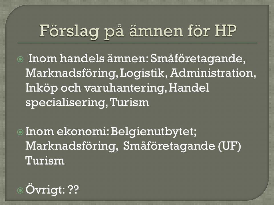  Inom handels ämnen: Småföretagande, Marknadsföring, Logistik, Administration, Inköp och varuhantering, Handel specialisering, Turism  Inom ekonomi: Belgienutbytet; Marknadsföring, Småföretagande (UF) Turism  Övrigt: