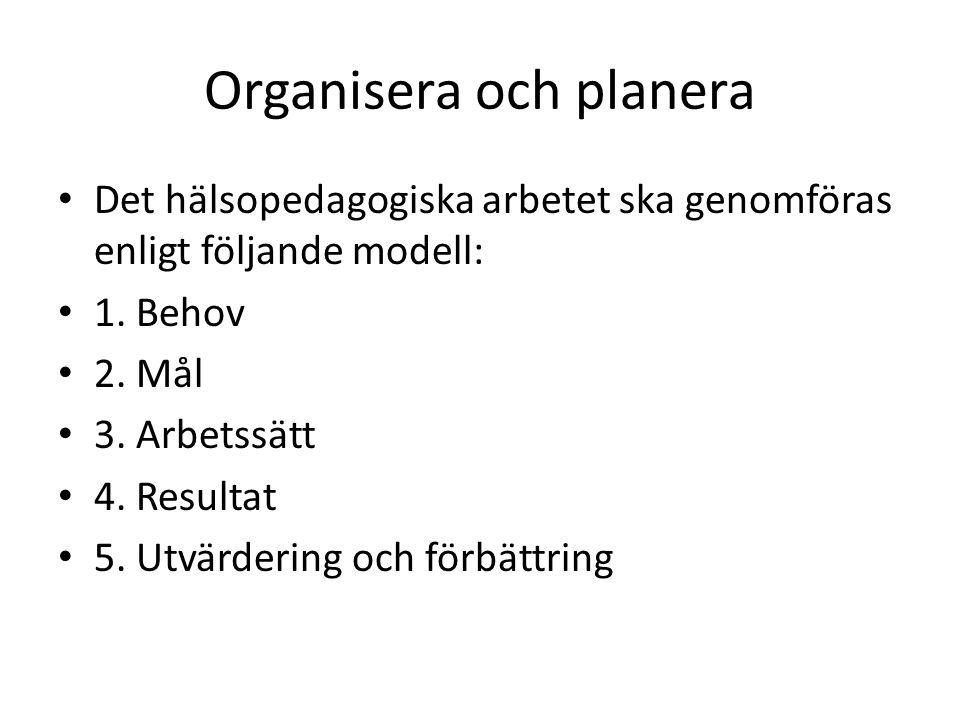 Organisera och planera Det hälsopedagogiska arbetet ska genomföras enligt följande modell: 1.