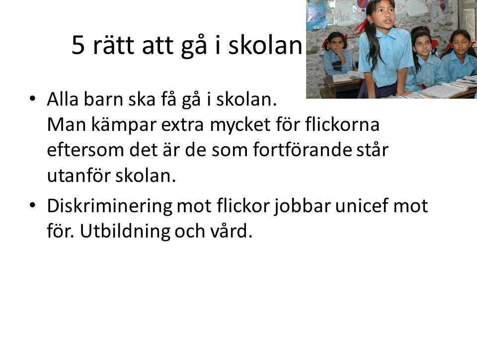 5 rätt att gå i skolan Alla barn ska få gå i skolan.