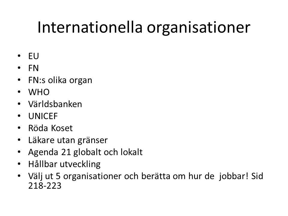 Internationella organisationer EU FN FN:s olika organ WHO Världsbanken UNICEF Röda Koset Läkare utan gränser Agenda 21 globalt och lokalt Hållbar utve