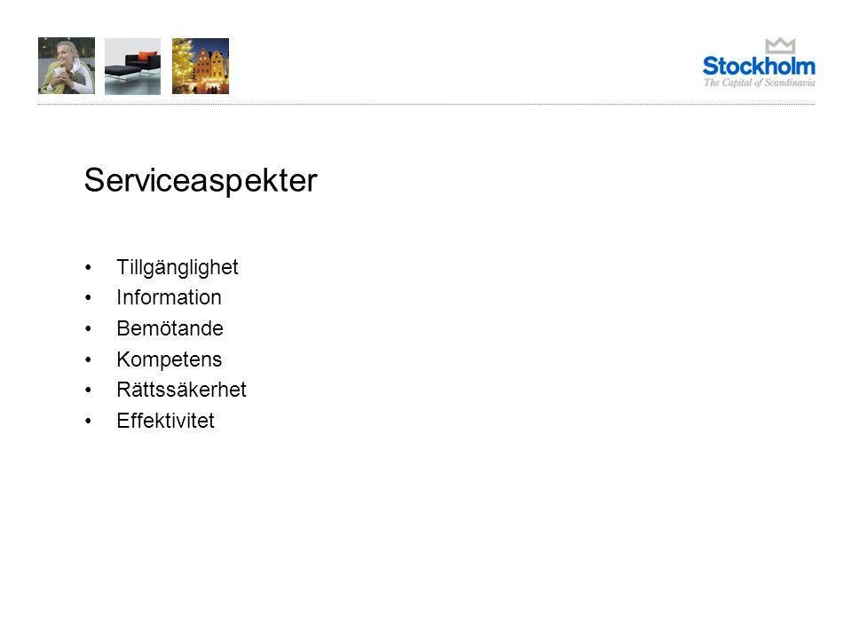 Fakta om undersökningen Faktainsamlingen gjordes av Stockholms stads utrednings- och statistikkontor AB (USK) under perioden 13 februari - 7 maj 2009 Analysen genomfördes av SCB Enkätundersökning med 25 frågor kring olika serviceaspekter och 3 helhetsbedömningar Bruttourval 153 företag Svarsfrekvensen var 61 procent